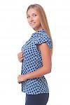Купить блузку синюю в белый ромбик Деловая женская одежда