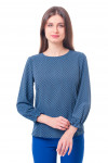 Блузка в синий ромб с резинкой на рукаве Деловая женская одежда фото