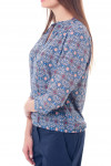 Купить блузку в синий узор с резинками сбоку Деловая женская одежда фото