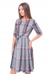 Купить платье серое с юбкой в складку Деловая женская одежда фото