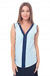 Топ голубой с синей вставкой Деловая женская одежда фото