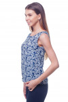 Купить топ синий в белый узор Деловая женская одежда фото