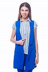 Жилет ярко-синий удлиненный Деловая женская одежда
