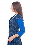 Купить синюю жилетку в черную клетку Деловая женская одежда фото