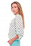Купить бирюзовую блузку в коричневый ромб Деловая женская одежда фото