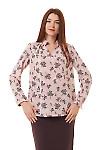 Блузка розовая в чёрные веточки Деловая женская одежда фото