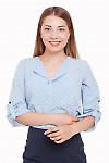 Блузка голубая в мелкие сердечки Деловая женская одежда фото