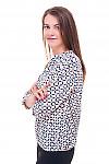 Купить блузку в персиковый узор с резинками сбоку Деловая женская одежда фото