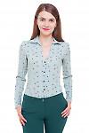 Блузка зеленая в цветочки Деловая женская одежда фото