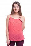 Майка розовая в белый горох Деловая женская одежда фото