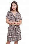 Платье бежевое в коралловые ромбики Деловая женская одежда фото
