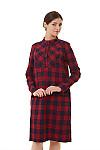 Платье тёплое в красную клетку Деловая женская одежда фото
