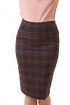 Юбка теплая в красно-синюю полосу Деловая женская одежда фото