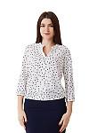 Блузка белая в синий горох с резинками сбоку Деловая женская одежда фото