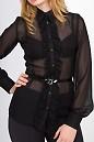 Фото Блузка черная с рюшью Деловая женская одежда