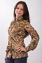 Фото Блузка атласная в мелкие цветочки Деловая женская одежда