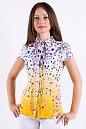Фото Блузка из хлопка в яркий цветочек Деловая женская одежда