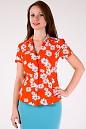 Фото Блузка оранжевая в ромашки Деловая женская одежда