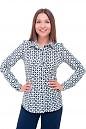 Блузка классическая в бирюзово-синий ромб Деловая женская одежда фото
