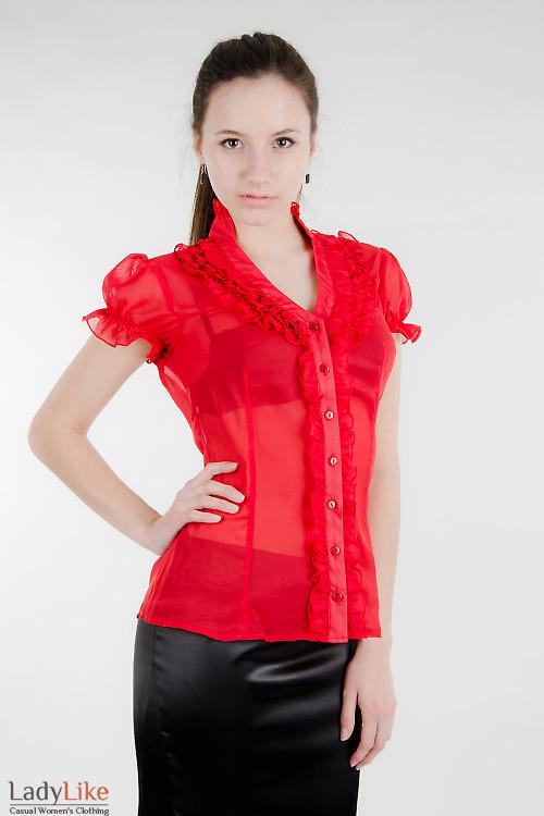Блуза красная с рюшами Деловая женская одежда