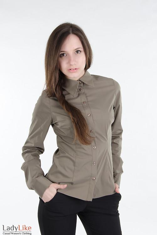 Блузка классическая зеленая. Деловая женская одежда