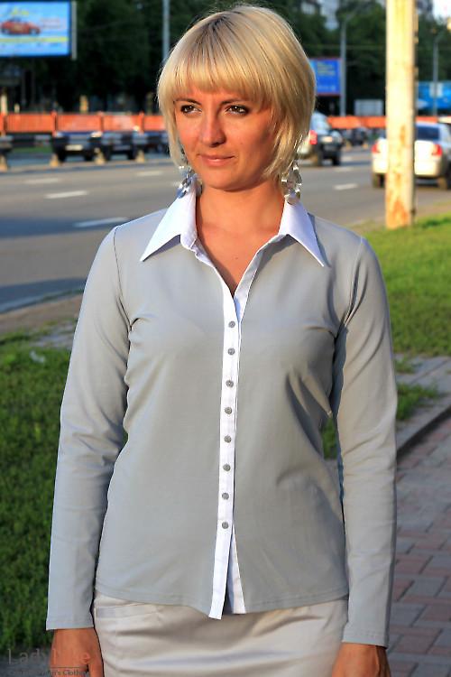 Блузка серая трикотажная Деловая женская одежда