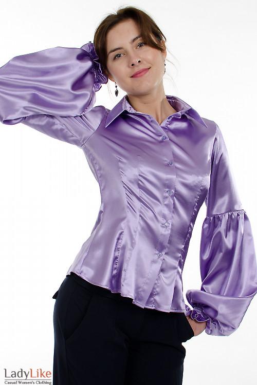 Блузка сиреневая атласная  Деловая женская одежда