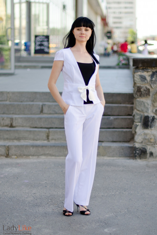 Брюки белые летние Деловая женская одежда
