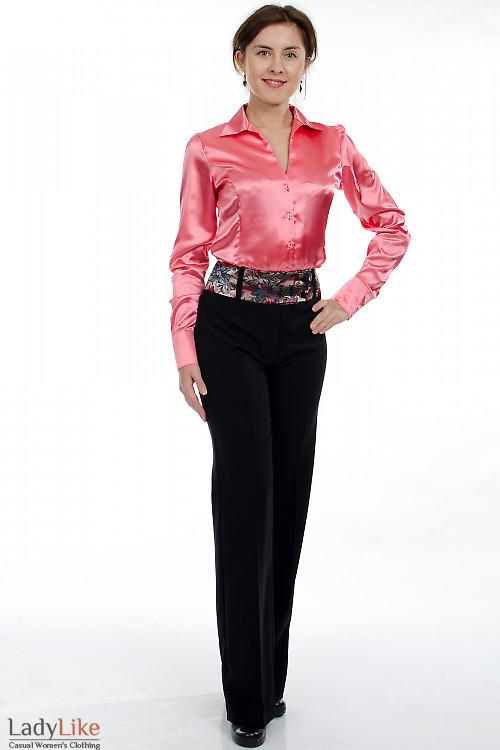 Брюки с цветным поясом Деловая женская одежда