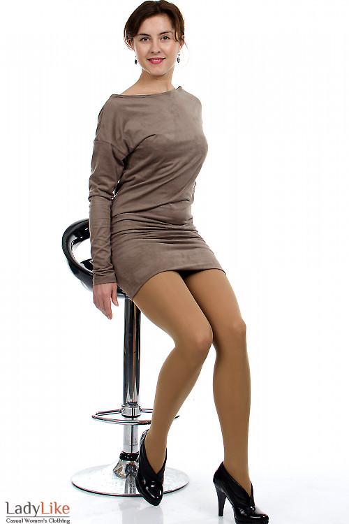 Платье-туника кофейное Деловая женская одежда