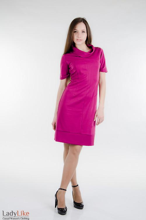 Платье трикотажное малиновое Деловая женская одежда