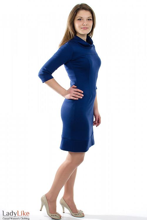 Платье трикотажное синее Деловая женская одежда