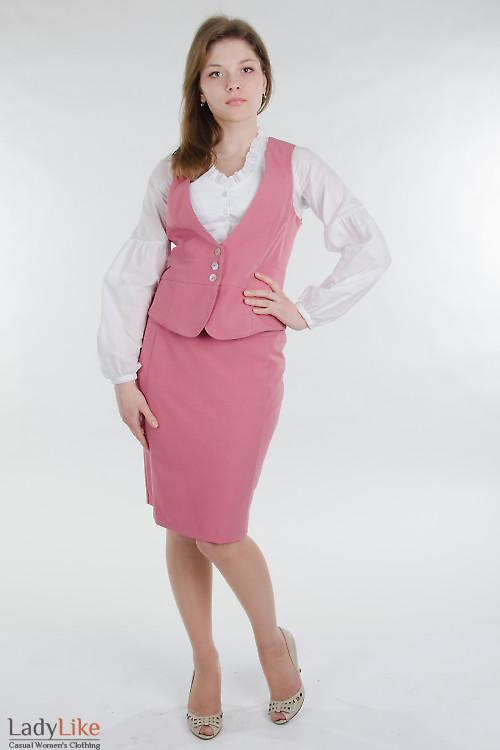 Жилет розовый приталенный Деловая женская одежда