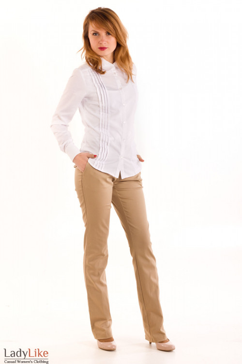 Фото Блузка белая со складочками Деловая женская одежда
