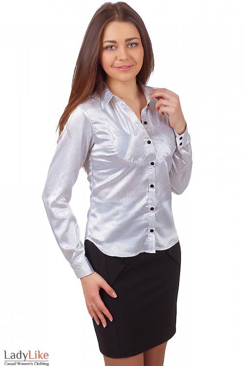 Фото Блузка белая в мелкую черную полоску Деловая женская одежда