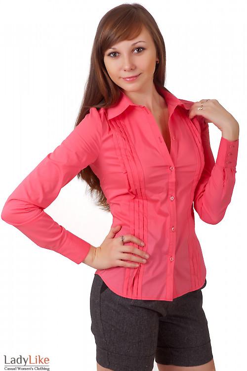 Фото Блузка коралловая со складочками Деловая женская одежда