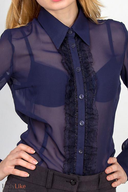 Фото Блузка темно-синяя с рюшью-кружевом Деловая женская одежда