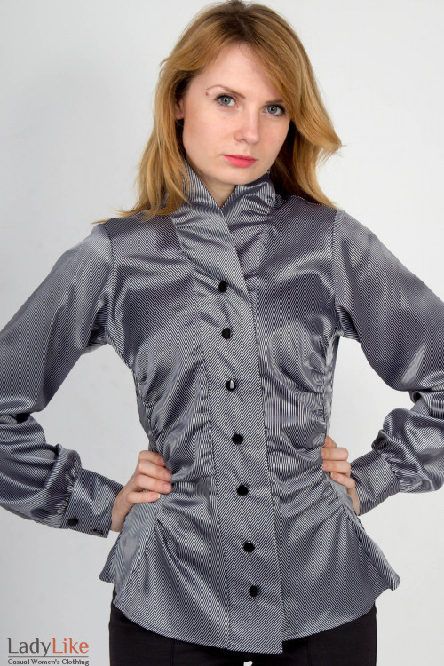 Фото Блузка в полоску серебро Деловая женская одежда