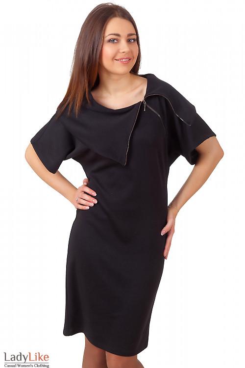 Фото Платье-футляр черное с молнией на воротнике Деловая женская одежда