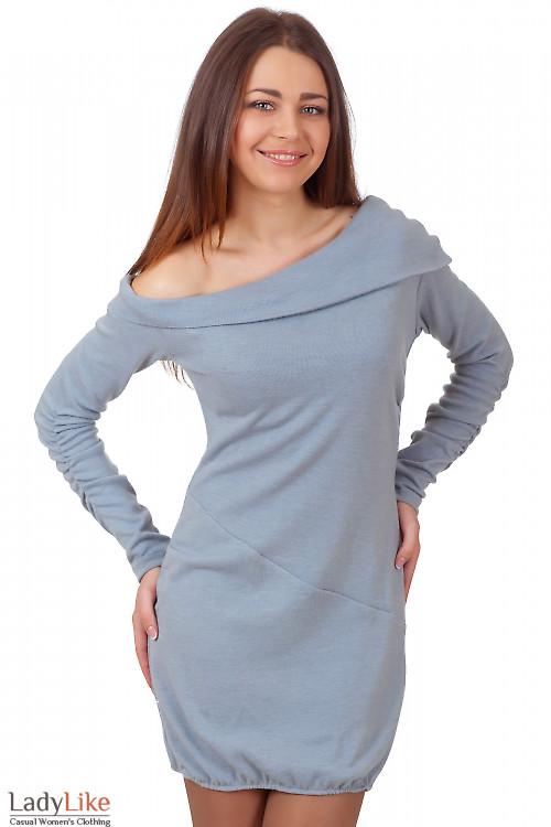 Фото Платье-туника серое с ангоры Деловая женская одежда