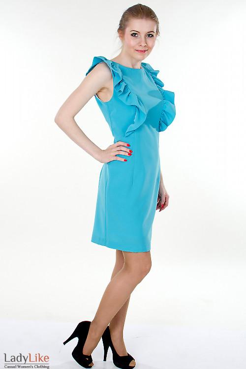Фото Платье бирюзовое с рюшами вид сбоку Деловая женская одежда