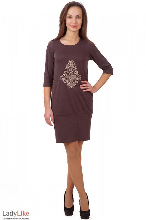 Фото Платье коричневое с вышивкой Деловая женская одежда