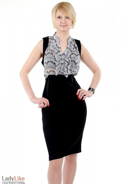 Фото Платье с шифоном чёрно-белое Деловая женская одежда