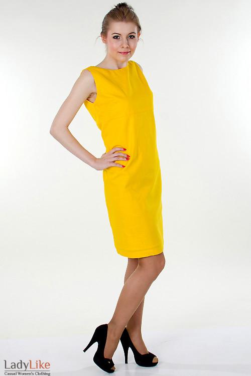 Фото Сарафан льняной желтый  Деловая женская одежда