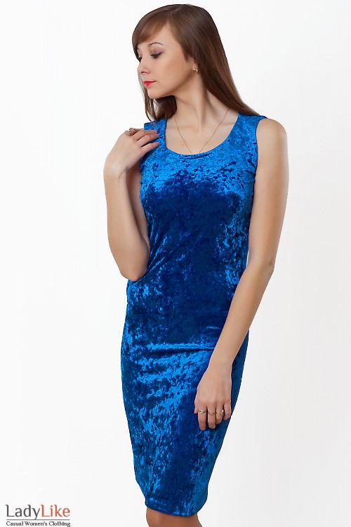 Купить сарафан синий из бархата. Деловая женская одежда