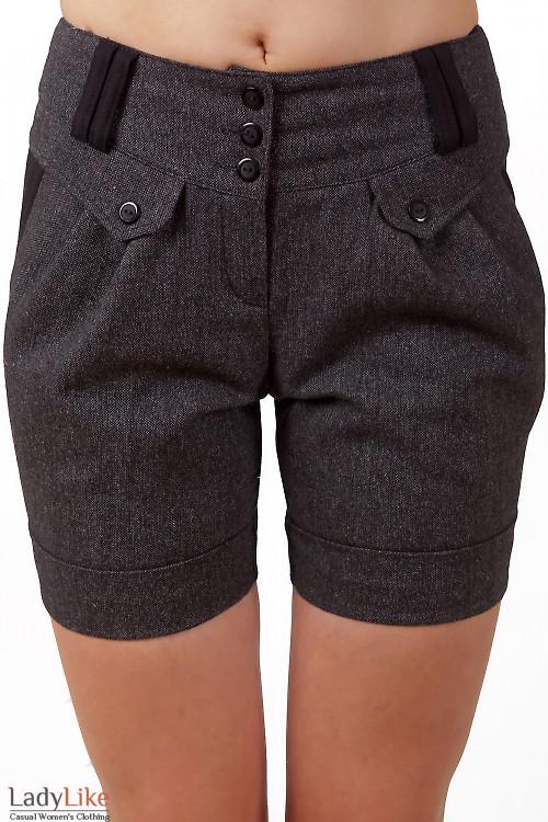 Фото Шорты короткие серые из твида Деловая женская одежда