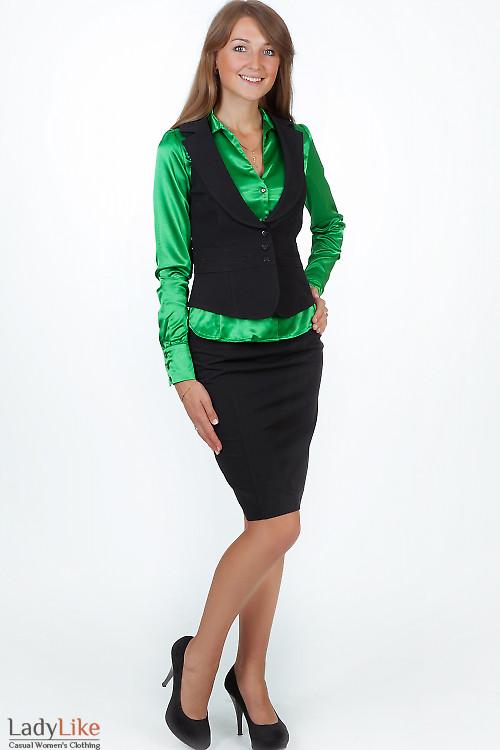 Юбка черная с широкой кокеткой Деловая женская одежда