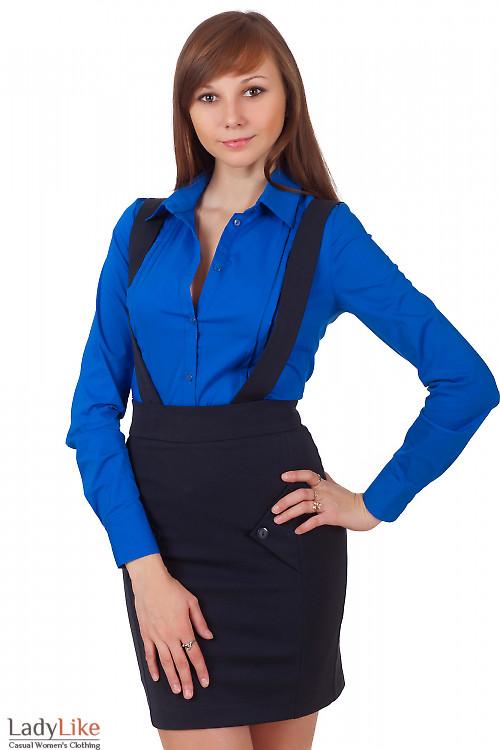 Фото Юбка теплая синяя на бретелях Деловая женская одежда