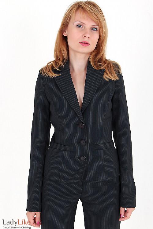 Фото Жакет черный в белую полоску Деловая женская одежда