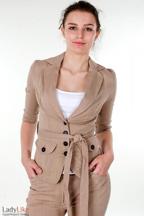 Фото Жакет льняной коричневый с коротким рукавом Деловая женская одежда